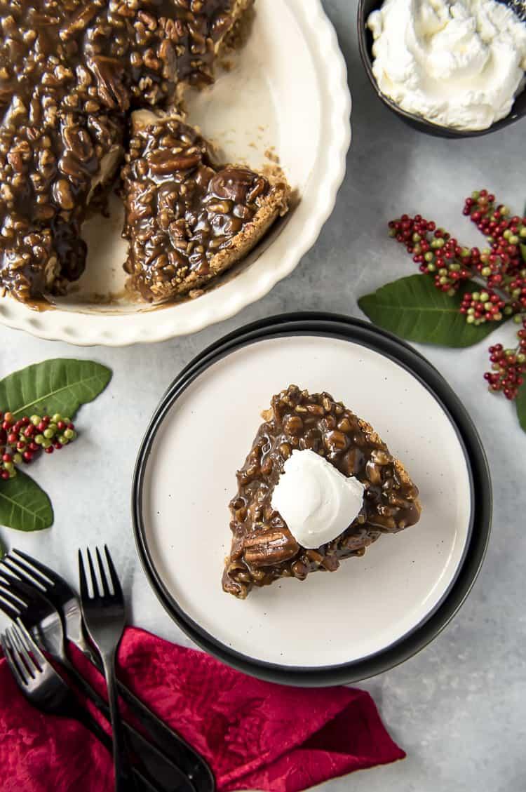 Top shot of Pecan Pie Cheesecake
