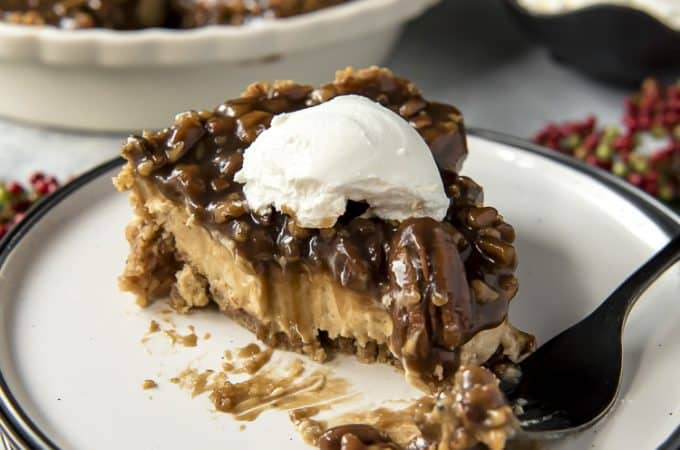 Pecan Pie Cheesecake with bites missing