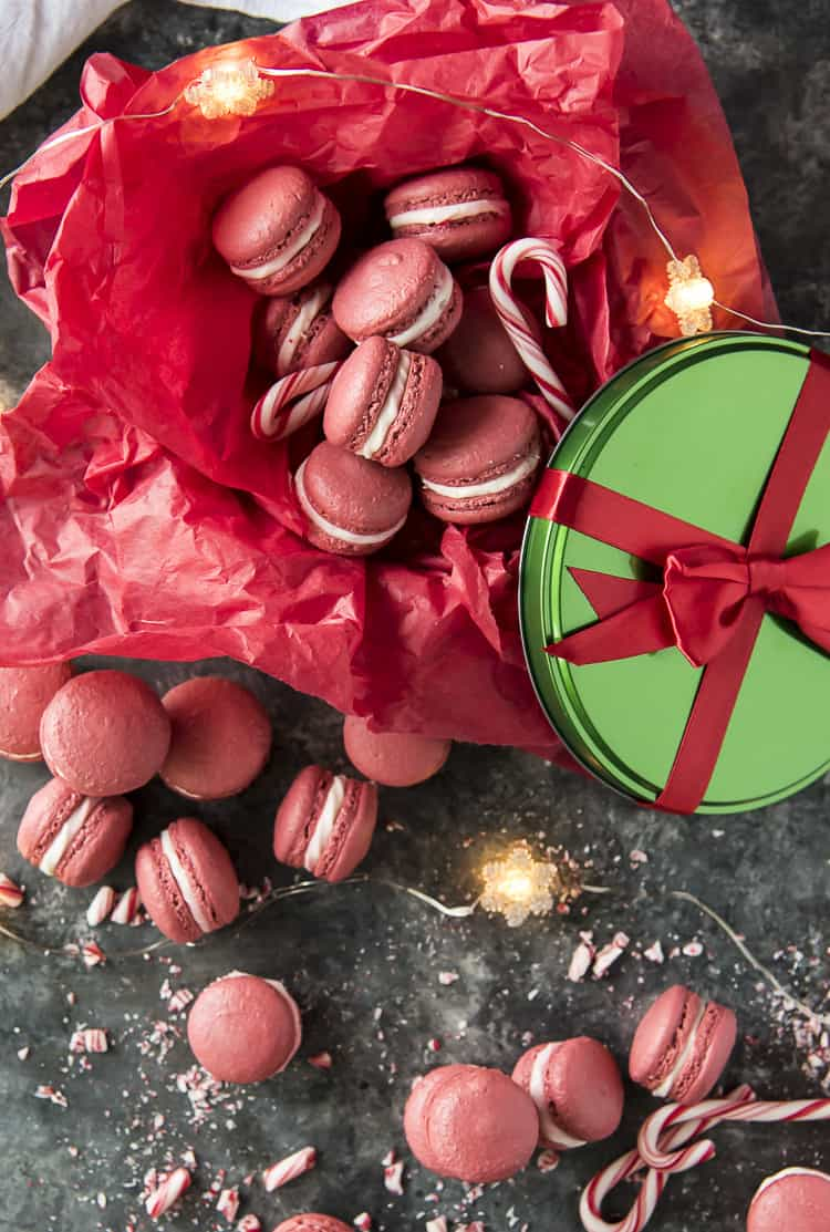 Peppermint Red Velvet Macarons in a gift box