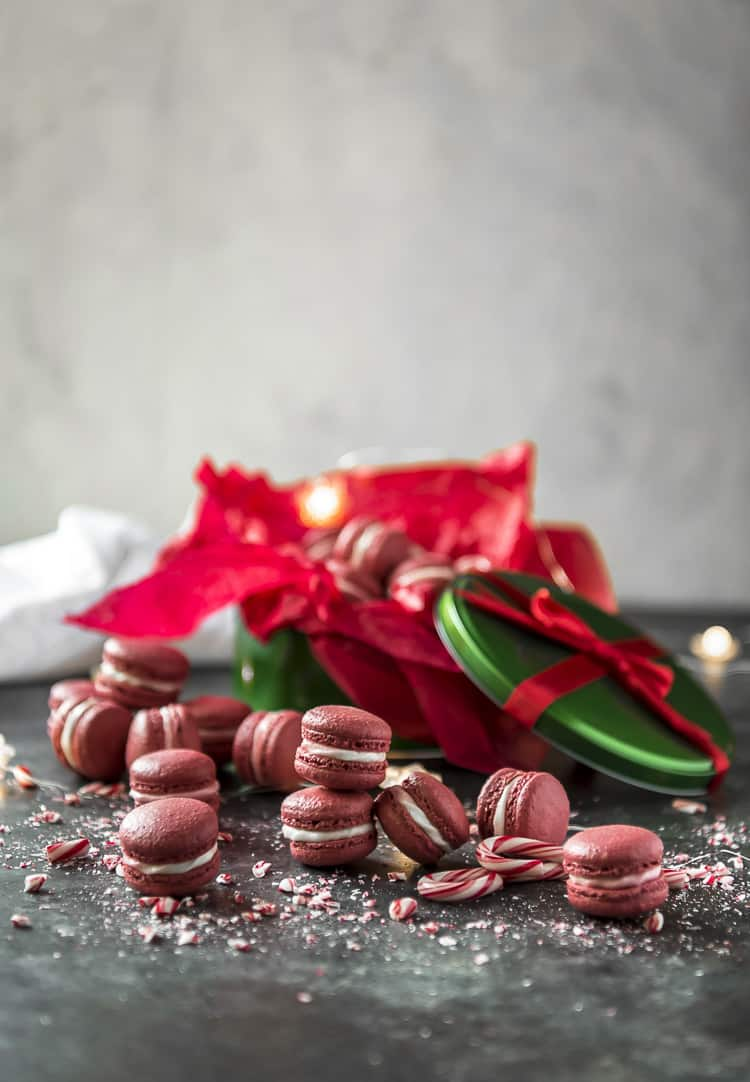 A gift tin of Peppermint Red Velvet Macarons