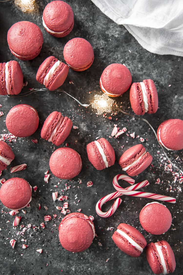 Top shot of Peppermint Red Velvet Macarons