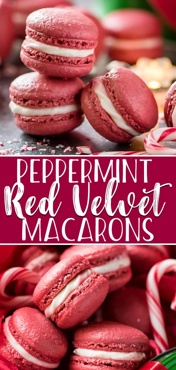 Festive, fun, and completely adorable, these sweet little Peppermint Red Velvet Macarons deserve a spot on your holiday cookie tray! These bakery classics take focus and precision in the kitchen, but the results are as impressive looking as they are yummy!