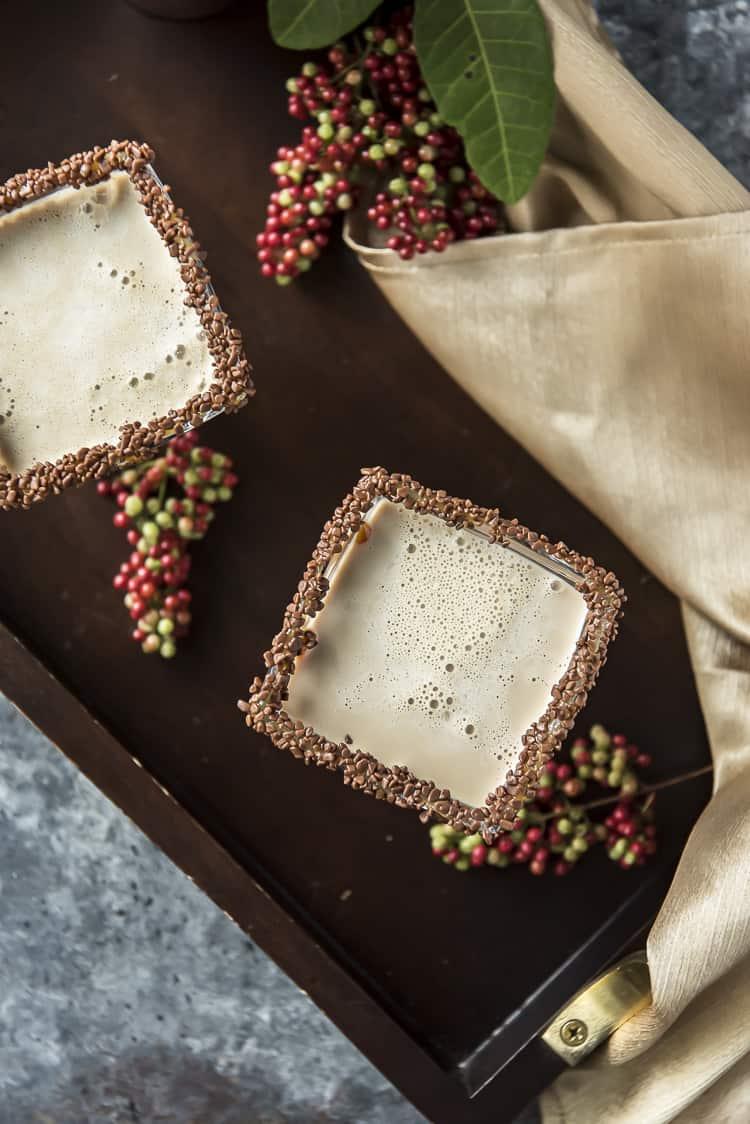 Top shot of Salted Caramel Chocolate Martinis