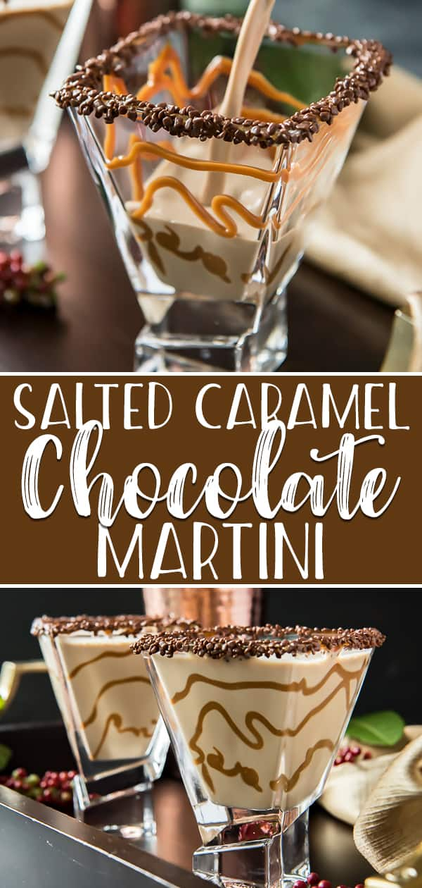 If you're looking for a tasty nightcap, this creamy Salted Caramel Chocolate Martini will leave you dreaming sweet dreams! Made with chocolate liqueur, Irish cream, vodka, and a touch of salted caramel, this easy yet sophisticated cocktail will have everyone asking for one of their own. #crumbykitchen #sponsored #christmassweetsweek #drinkforjoy #saltedcaramel #chocolate #martini #chocolatemartini #vodkamartini #dessertcocktail #holidaydrinks