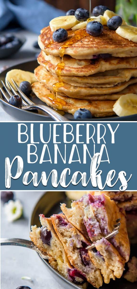 What really makes a weekend breakfast fabulous is a big stack of fluffy, homemade, buttermilk Blueberry Banana Pancakes! These irresistibly soft from scratch pancakes are loaded with ripe bananas and juicy blueberries are truly the best!