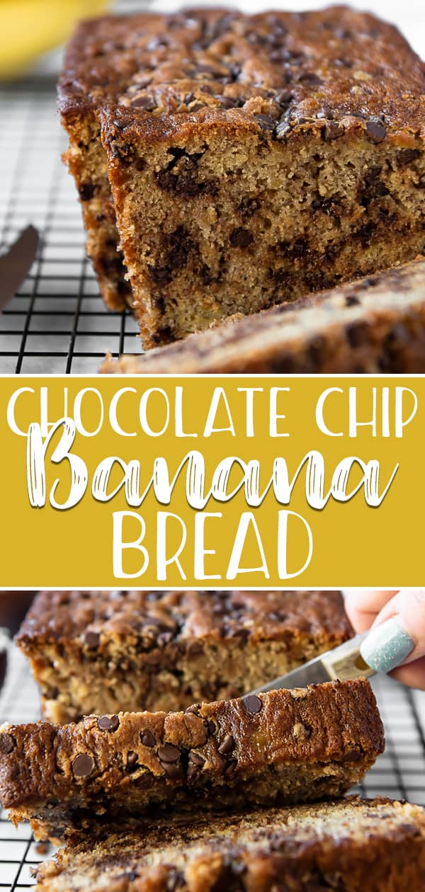 This one bowl Chocolate Chip Banana Bread is the best ever! Supremely moist thanks to plenty of very ripe and chunky bananas, this banana bread has irresistible gooey chocolate in every bite!