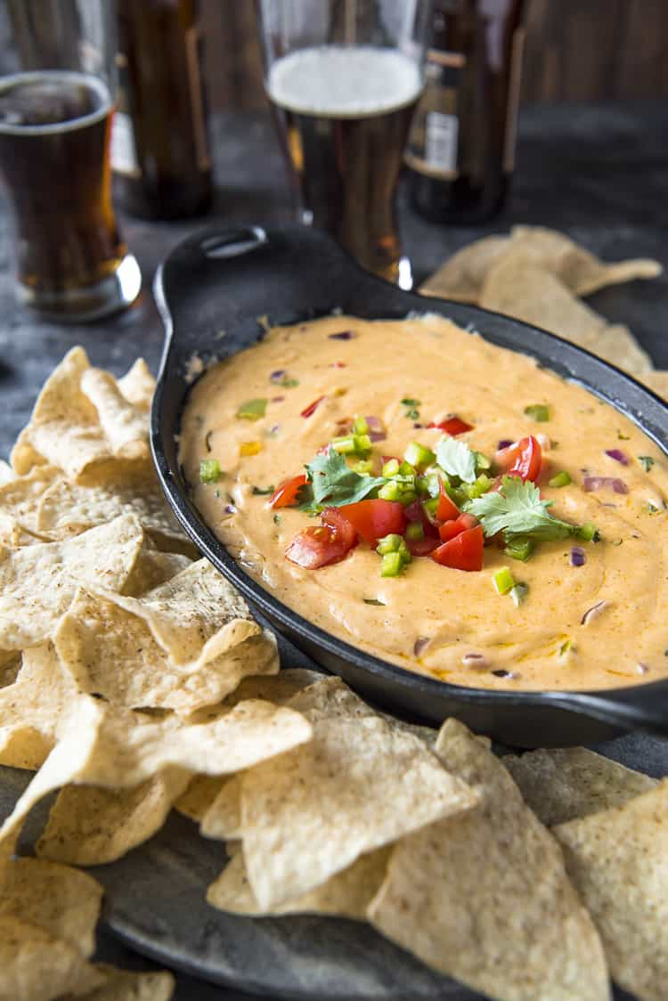 Fajita Queso Dip made with colby jack cheese