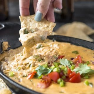 Keto Fajita Queso Dip on a low carb chip