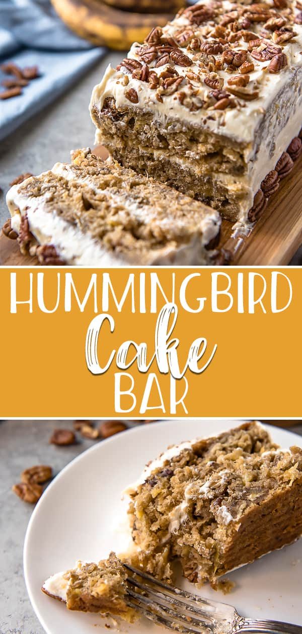 Delightful, incredibly moist, and unmistakably Southern, this Hummingbird Cake Bar is packed full of banana and pineapple goodness! This easy bar cake version of the classic recipe is layered with a pineapple cream cheese frosting and topped with toasted pecans for a crowd-pleasing crunch.