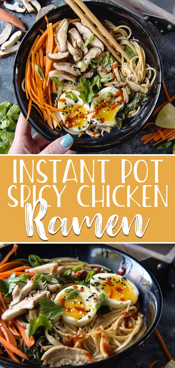 This 20-minute Instant Pot Spicy Chicken Ramen is a fantastic addition to your weeknight dinner menu! Start with a spicy-as-you-want broth, add some quick-cooked chicken, and top it all off with your favorite veggies for a healthy bowl of comfort.