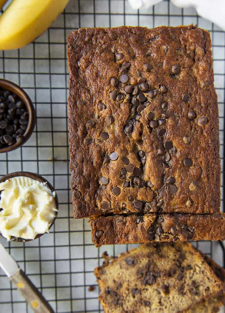 A top shot photo of Chocolate Chip Banana Bread