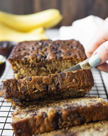 Slicing into a Moist Chocolate Chip Banana Bread