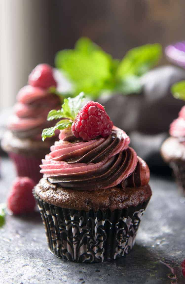 Closeup of a Chocolate Raspberry Cupcake
