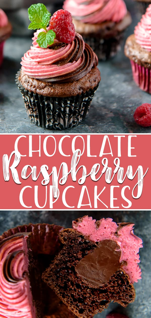 Make any celebration extra special with a batch of these decadentChocolate Raspberry Cupcakes! Moist chocolate cupcakes, filled with rich ganache, are crowned with a fluffy, homemade raspberry buttercream made with fresh berries.