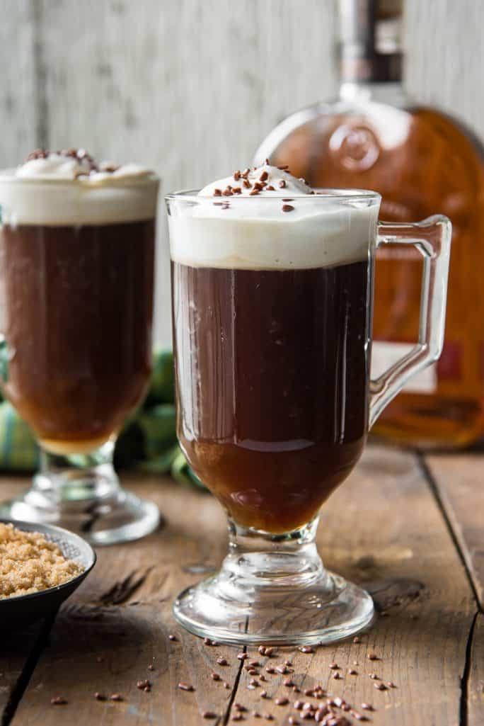A Classic Irish Coffee made with bourbon
