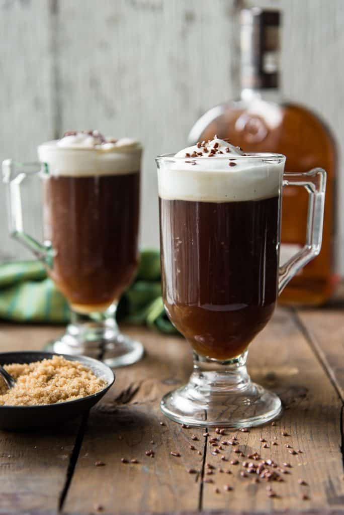 Classic Irish Coffee with a bowl of brown sugar