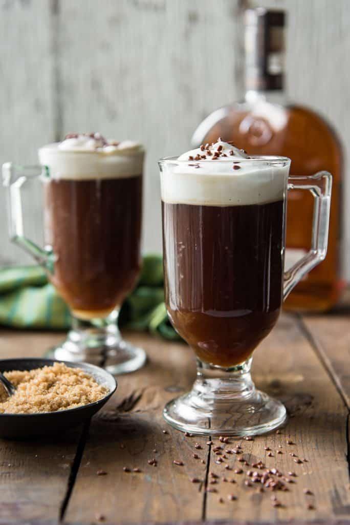 Classic Irish Coffee with a bowl of brown sugar