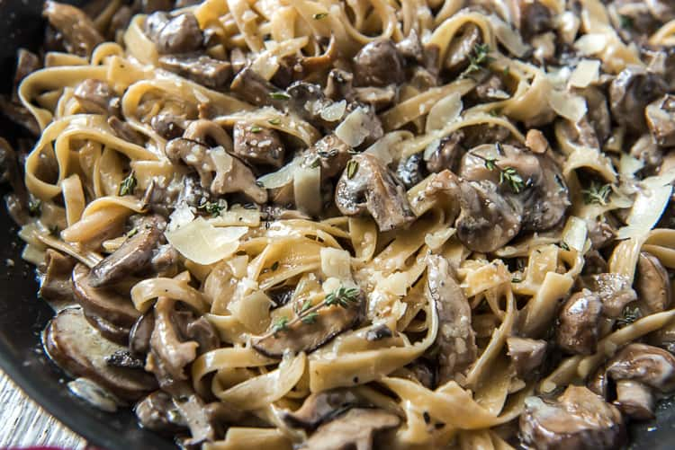 A skillet of Creamy Brown Butter Mushroom Pasta