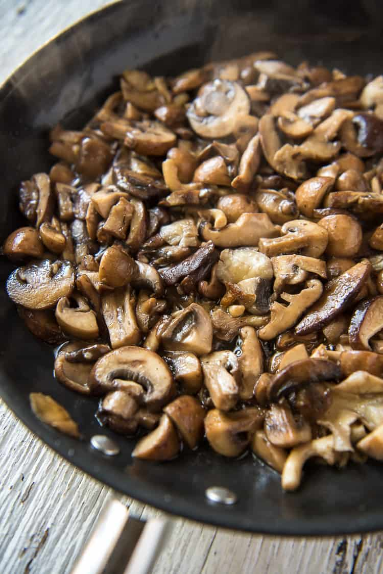 A skillet of sauteed Brown Butter Mushrooms