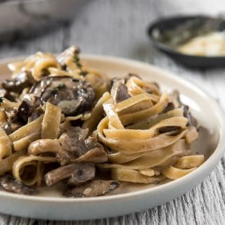 A twirl of Creamy Brown Butter Mushroom Pasta on a plate