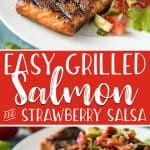 If you have never Grilled Salmon before, today is the day! A simple rub and 10 minutes on the grill rewards you with perfectly cooked and flavorful salmon - and a fresh Strawberry Salsa is a refreshing way to top it off.
