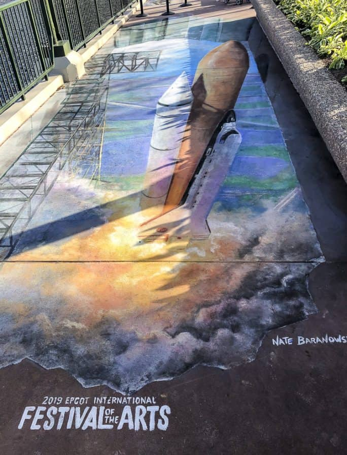 Chalk art of the space shuttle at the Epcot Festival of the Arts