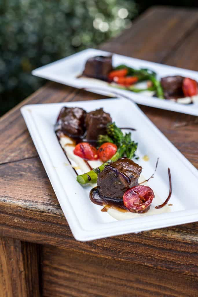 Red Wine-braised Beef Short Rib with Parsnip Purée, Broccolini, Baby Tomatoes and Aged Balsamic from Cuisine Classique; Epcot Festival of the Arts