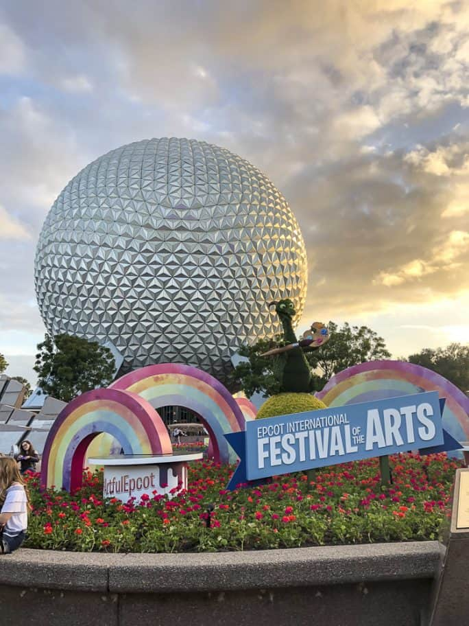 Spaceship Earth at Epcot, decorated for the International Festival of the Arts