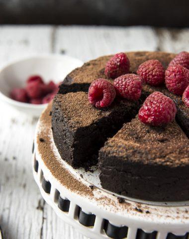 A sliced Flourless Chocolate Cake