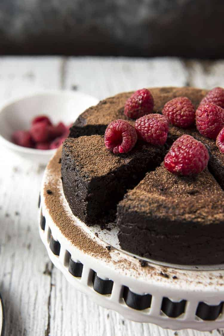 A sliced Flourless Chocolate Cake