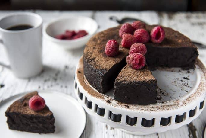 A keto Flourless Chocolate Espresso Cake