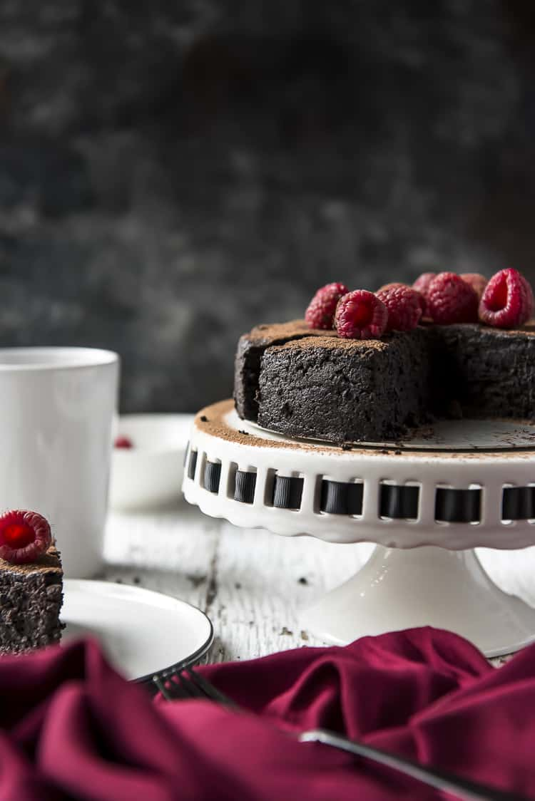 A gluten-free Flourless Chocolate Cake made with espresso powder