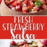 Quick, easy, and refreshing, this Strawberry Tomato Salsa is a perfect warm weather appetizer! Punched up with lime, red onion, avocado, jalapeno, and cilantro, it's delicious on it's own with chips or as a topping for grilled chicken or fish.
