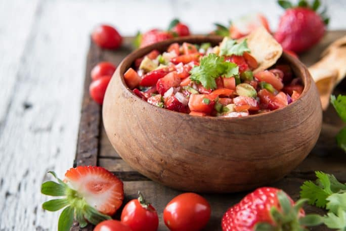 A bowl of Fresh Strawberry Salsa with jalapeno and avocado
