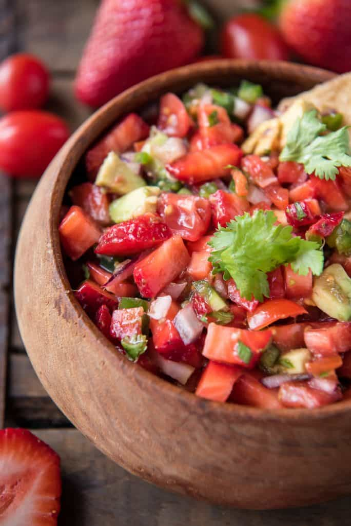 Closeup of Fresh Strawberry Tomato Salsa in a bowl