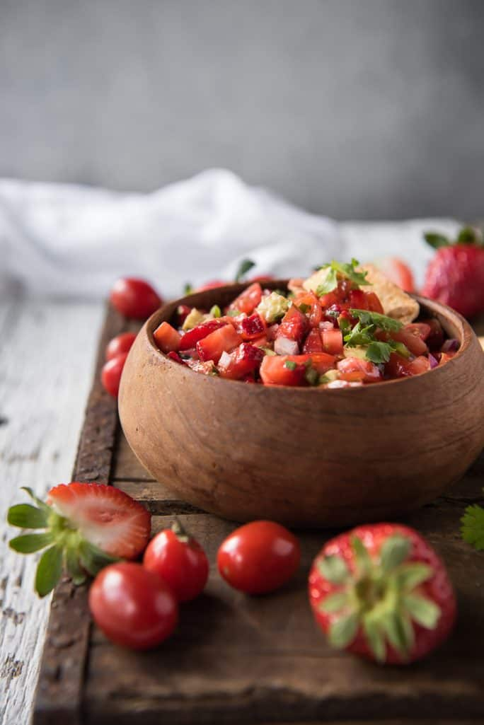 A bowl of fresh Strawberry Salsa