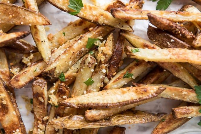 Baked garlic french fries