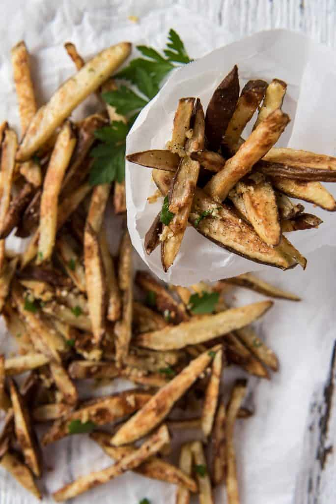 Baked garlic truffle fries in a cup