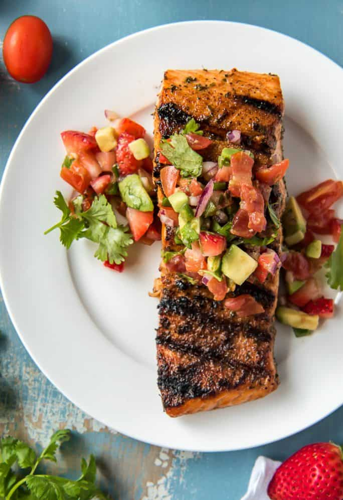 Grilled Salmon with Strawberry Salsa on a plate