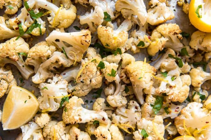 Lemon Garlic Roasted Cauliflower on a sheet pan, as viewed from above