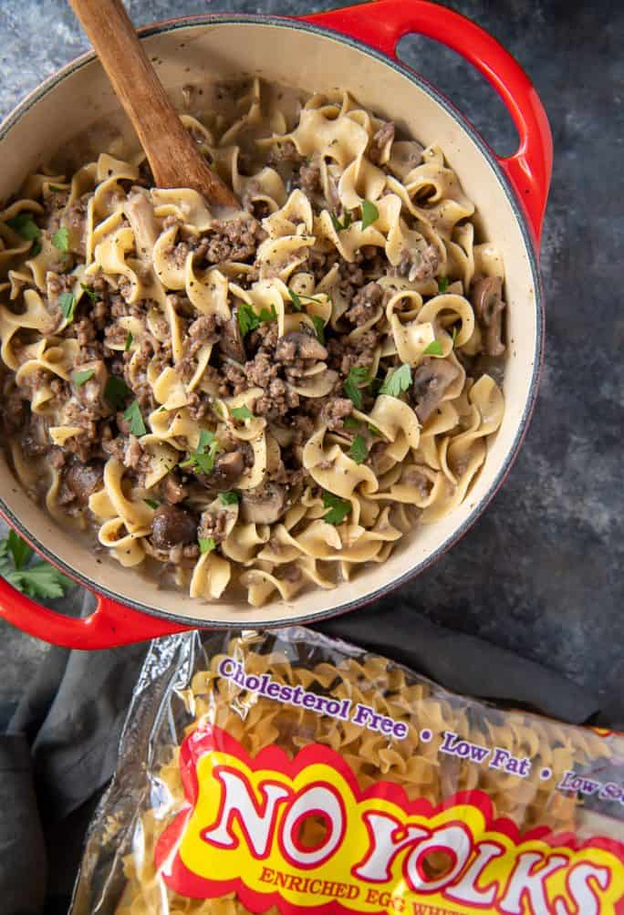 One Pot Ground Beef Stroganoff with a bag of dry egg noodles