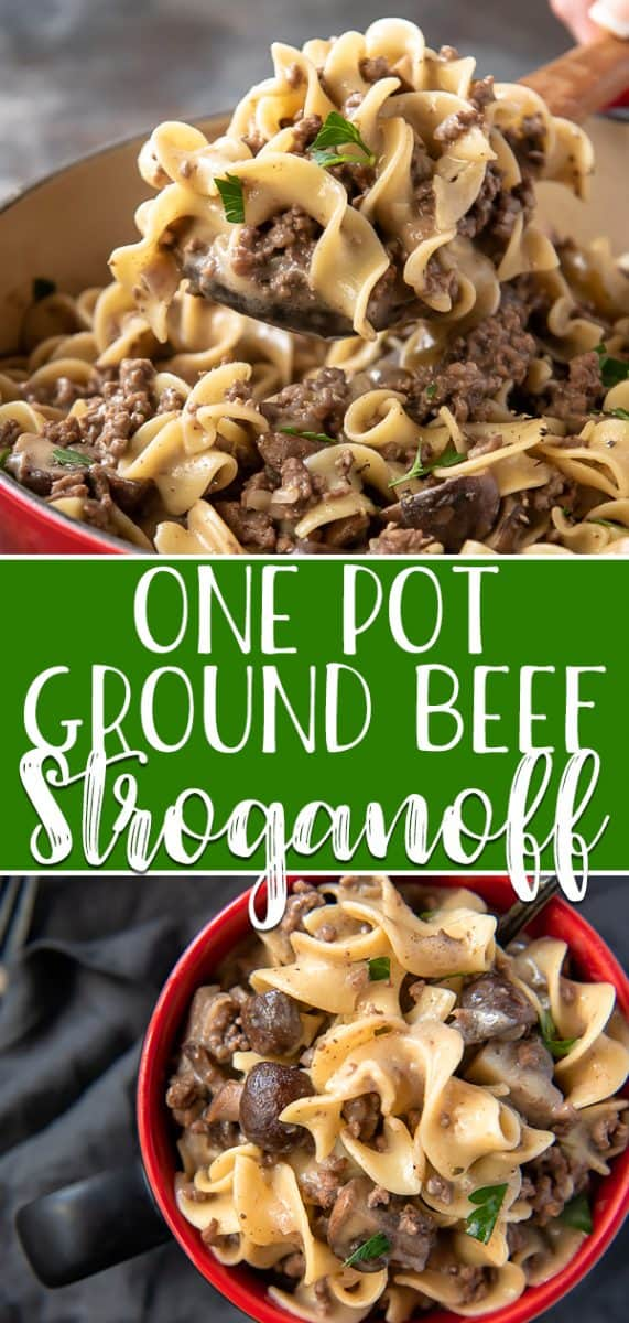 Weeknight dinners can be equally quick and comforting with this One Pot Ground Beef Stroganoff! This meal has all the flavors of traditional stroganoff, but is made with fresh mushrooms, lean ground beef, tasty egg noodles, and NO CANNED SOUP!