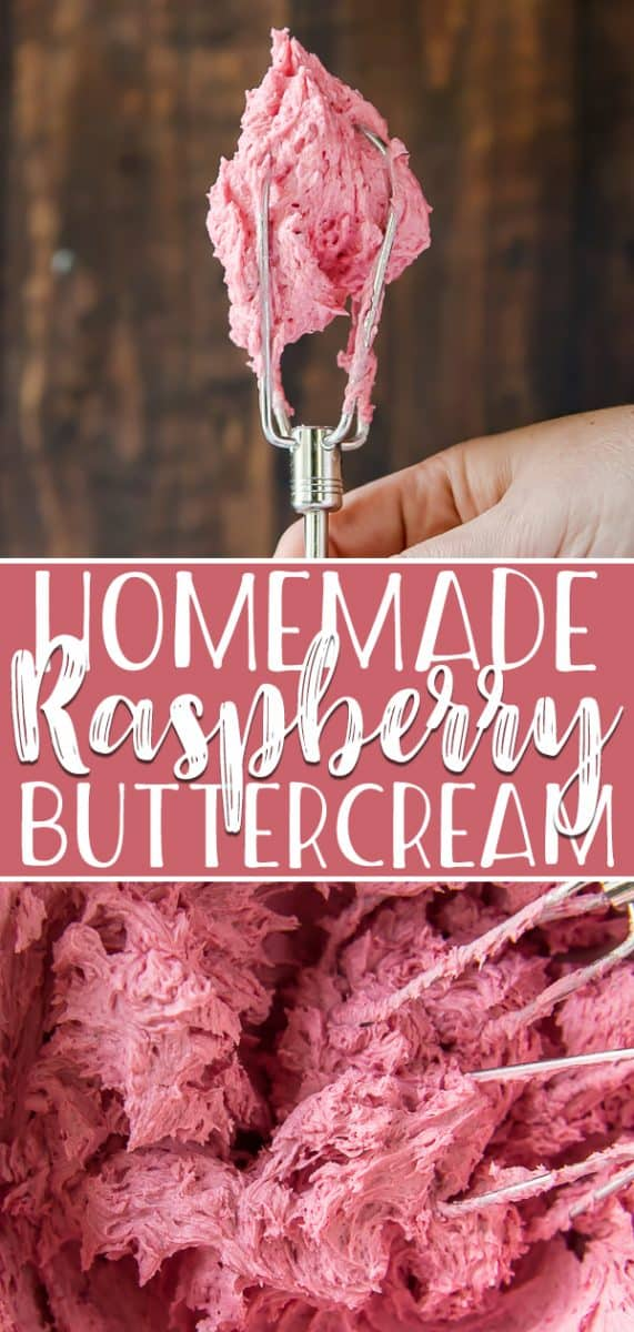 This homemade Raspberry Buttercream frosting will lend a fruity kick to any baked goods! Naturally colored with a puree of either fresh or frozen raspberries, this buttercream recipe belongs in your baking repertoire!