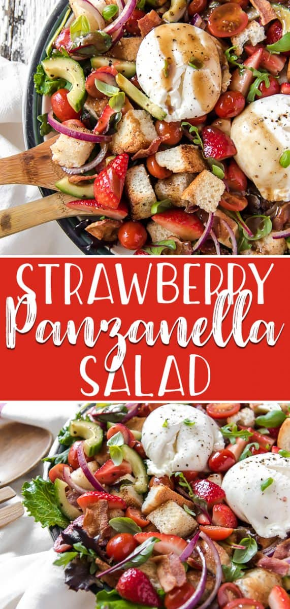 This Strawberry Panzanella Salad will be the breakout star of every meal this summer! Full of juicy tomatoes, sweet strawberries, toasted bread cubes, and topped with creamy burrata cheese, you won't be able to resist this classic Tuscan dish.