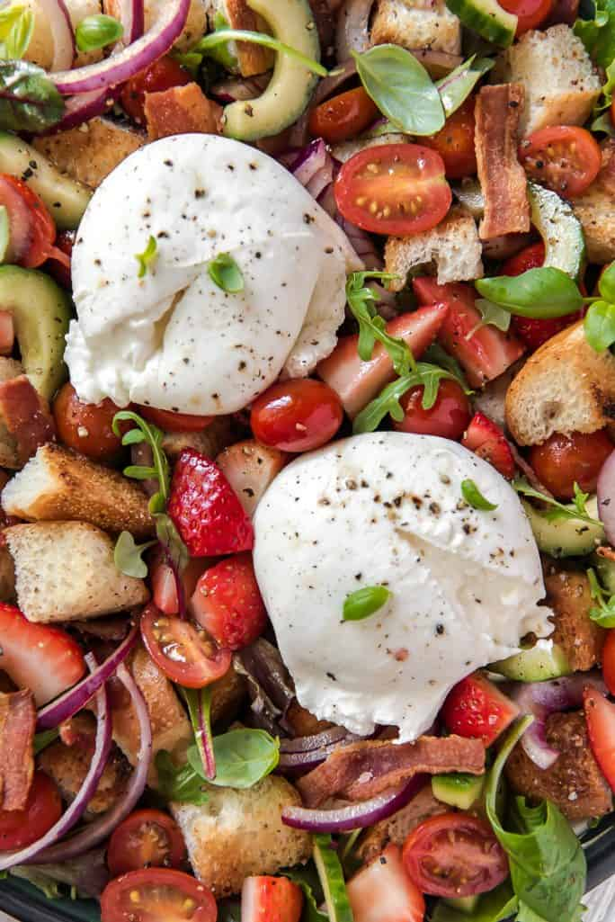 Tuscan Panzanella Salad with strawberries and burrata