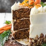 Buttermilk Carrot Cake with a slice cut out of it