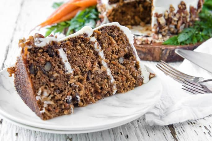 A slice of The Best-Ever Buttermilk Carrot Cake
