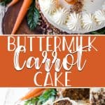 This is truly the Best-Ever Buttermilk Carrot Cake on the planet! Learn the simple secret to making this moist, tender, homemade classic cake, complete with spices, shredded carrots and coconut, toasted pecans, and creamy rum cream cheese frosting!