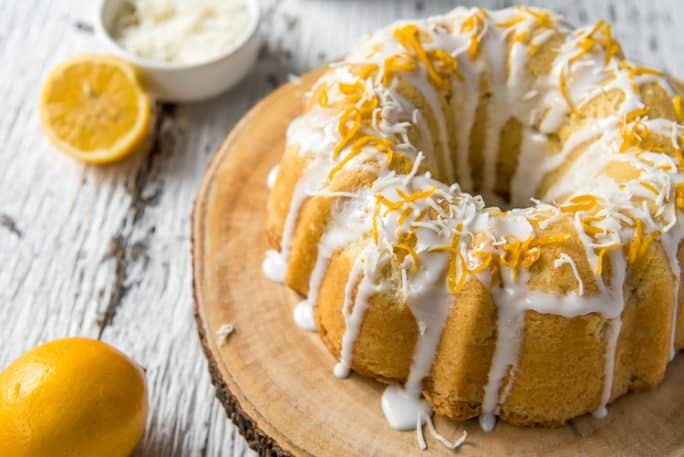 Coconut Lemon Pound Cake with white chocolate & lemon drizzle