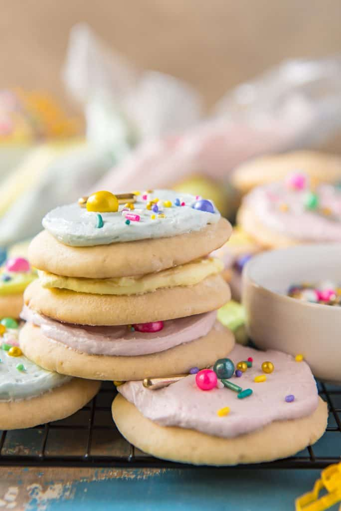 A stack of homemade Lofthouse cookies with frosting